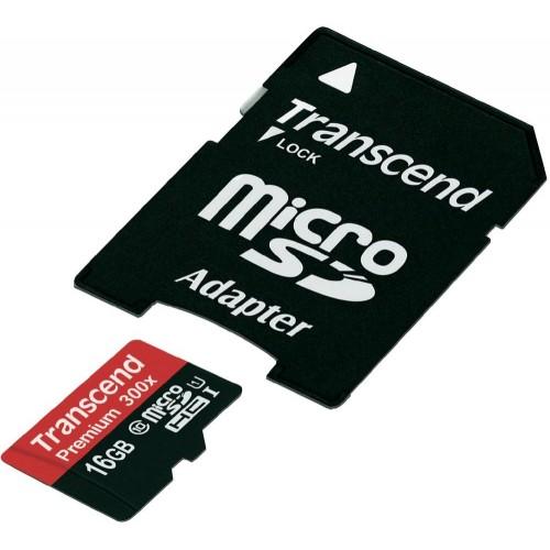 Transcend 16 GB microSDHC UHS-I Premium + SD Adapter TS16GUSDU1
